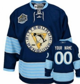 Pittsburgh Penguins Youths Customized 2011 Navy Blue Winter Classic Jersey