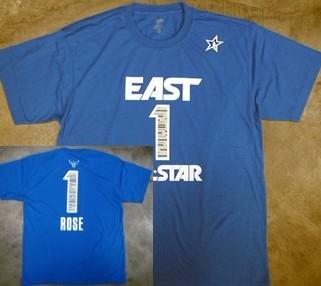 Chicago Bulls #1 Derrick Rose 2012 All-Star Blue T-Shirt