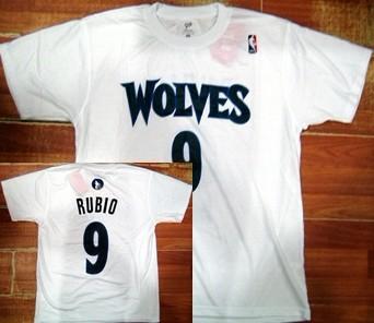 Minnesota Timberwolves #9 Ricky Rubio White T-Shirt