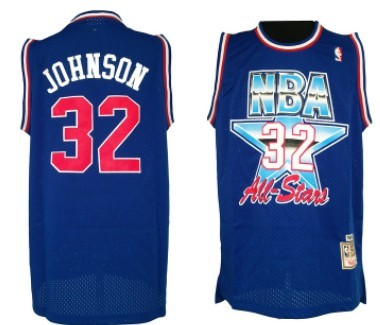 NBA 1992-1993 All-Star #32 Magic Johnson Blue Swingman Throwback Jersey