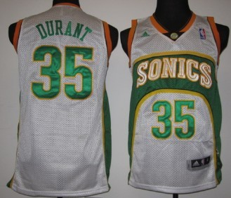 Seattle Supersonics #35 Kevin Durant 1994-95 White Swingman Jersey