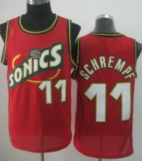 Seattle Supersonics #11 Detlef Schrempf 1995-96 Red Throwback Swingman Jersey