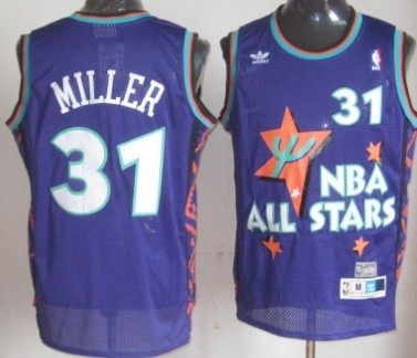 NBA 1995-1996 All-Star #31 Reggie Miller Purple Swingman Throwback Jersey