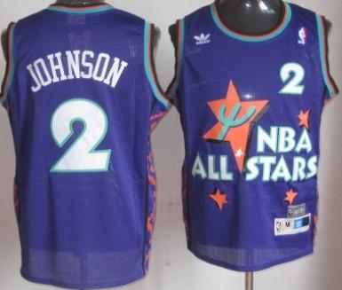 NBA 1995-1996 All-Star #2 Larry Johnson Purple Swingman Throwback Jersey