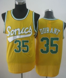 Seattle Supersonics #35 Kevin Durant 2003-04 Yellow Swingman Jersey