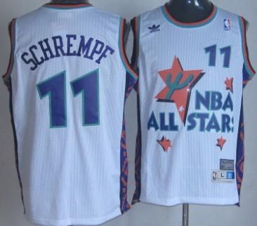 NBA 1995-1996 All-Star #11 Detlet Schrempf White Swingman Throwback Jersey