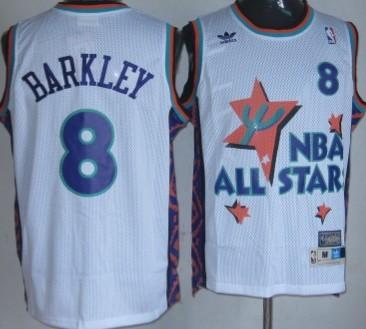NBA 1995-1996 All-Star #8 Charles Barkley White Throwback Swingman Jersey