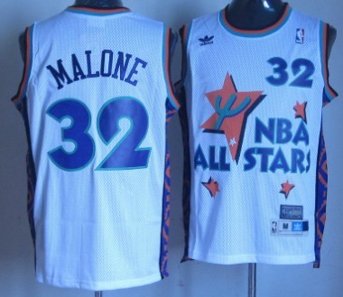NBA 1995-1996 All-Star #32 Karl Malone White Swingman Throwback Jersey