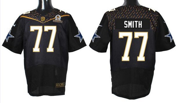Men's Dallas Cowboys #77 Tyron Smith Black 2016 Pro Bowl Nike Elite Jersey