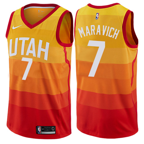Men's Utah Jazz #7 Pete Maravich Swingman Orange City Edition Nike Jersey