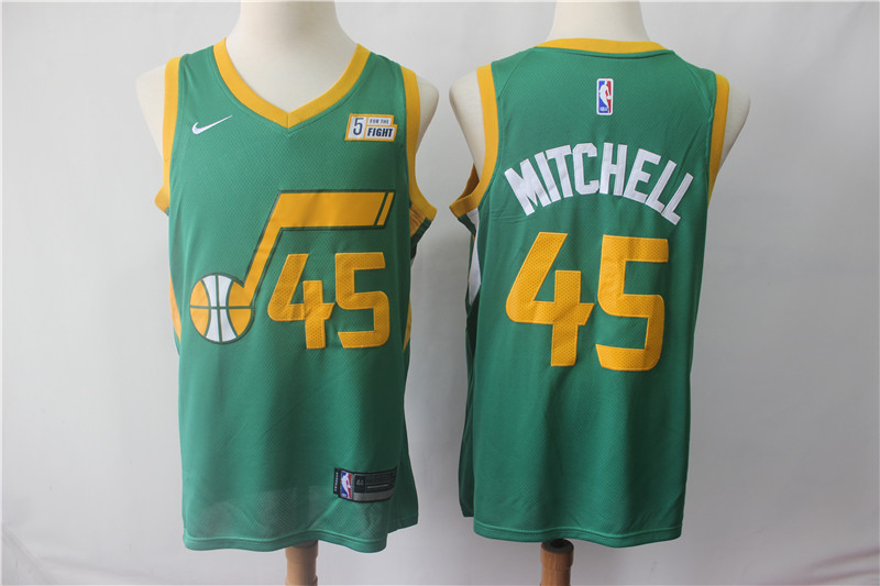 Jazz #45 Donovan Mitchell Green 2018-19 Earned Edition Nike Swingman Jersey