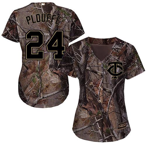 Minnesota Twins #24 Trevor Plouffe Realtree Collection Cool Base Women's Stitched Baseball Camo Jersey