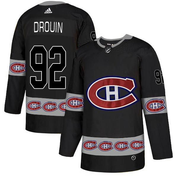 Men's Montreal Canadiens #92 Jonathan Drouin Black Black Team Logos Adidas Fashion Jersey