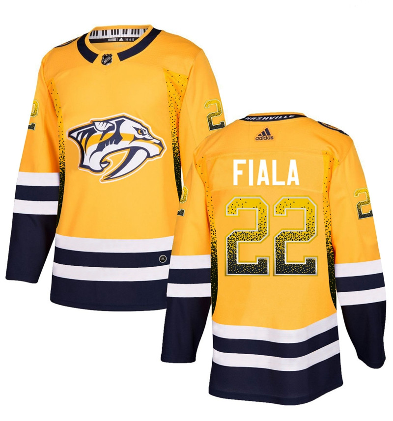 Men's Nashville Predators #22 Kevin Fiala Gold Drift Fashion Adidas Jersey
