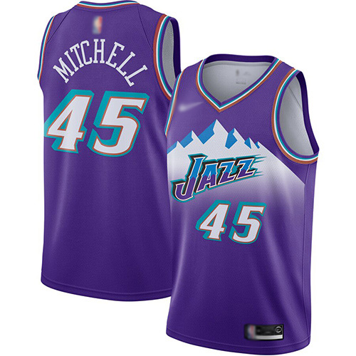 Jazz #45 Donovan Mitchell Purple Basketball Swingman Hardwood Classics Jersey
