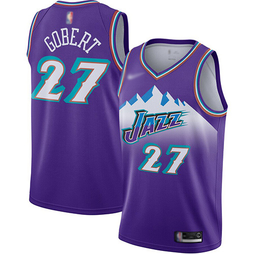 Jazz #27 Rudy Gobert Purple Basketball Swingman Hardwood Classics Jersey