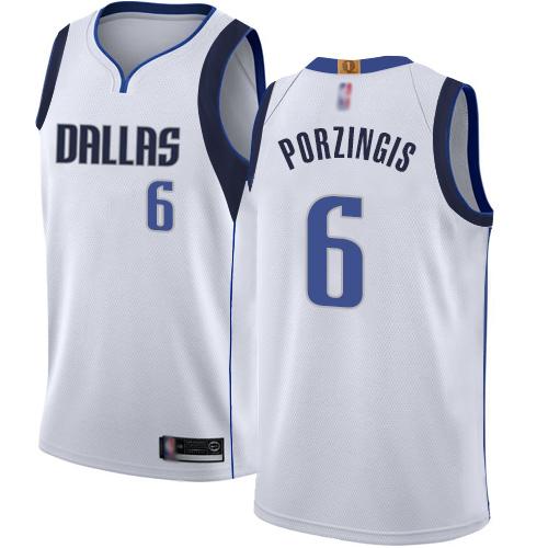 Mavericks #6 Kristaps Porzingis White Basketball Swingman Association Edition Jersey