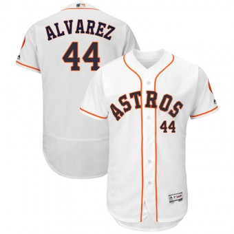 Men's Houston Astros #44 Yordan Alvarez Majestic Flex Base Home Collection White Jersey