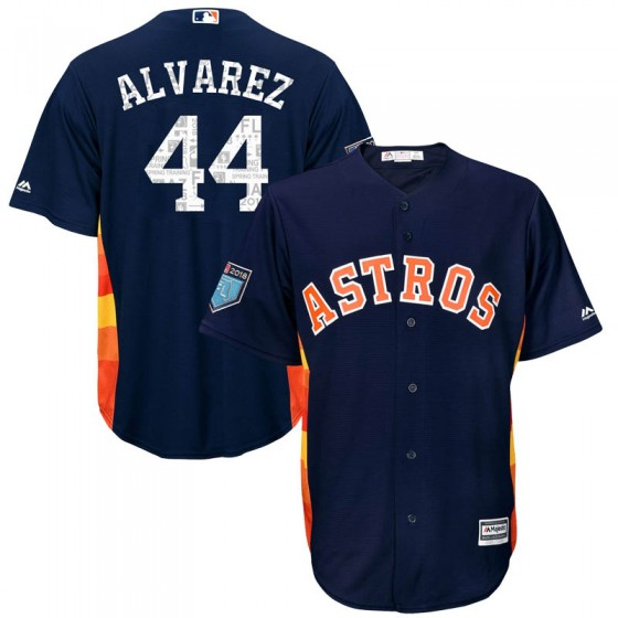 Men's Houston Astros #44 Yordan Alvarez Majestic Cool Base 2018 Spring Training Navy Jersey