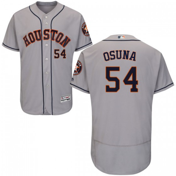 Men's Houston Astros Roberto Osuna Majestic Flex Base Road Collection Gray Jersey