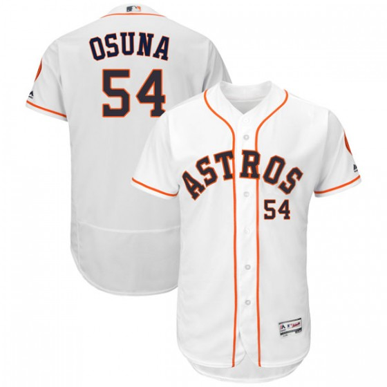 Men's Houston Astros Roberto Osuna Majestic Flex Base Home Collection White Jersey
