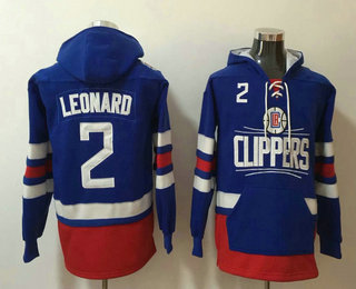 Men's Los Angeles Clippers #2 Kawhi Leonard NEW Blue Pocket Stitched NBA Pullover Hoodie