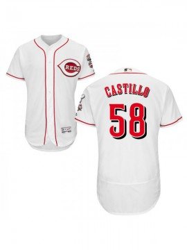 Men's Cincinnati Reds #58 Luis Castillo Authentic White Flex Base Jersey