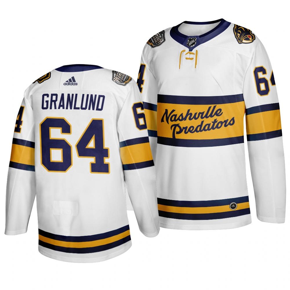 Men's Nashville Predators 64 Mikael Granlund White 2020 Winter Classic Adidas Jersey