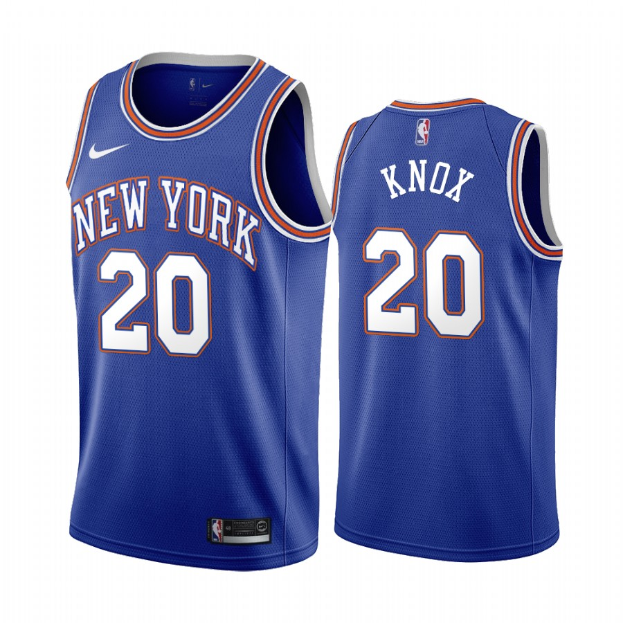 Nike Knicks #20 Kevin Knox Navy 2019-20 Statement Edition NBA Jersey