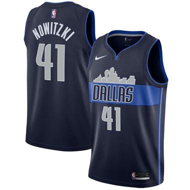 Nike Mavericks #41 Dirk Nowitzki Navy Swingman Jersey