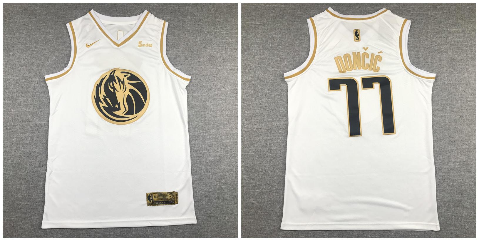 Mavericks #77 Luka Doncic White Gold Nike Swingman Jersey