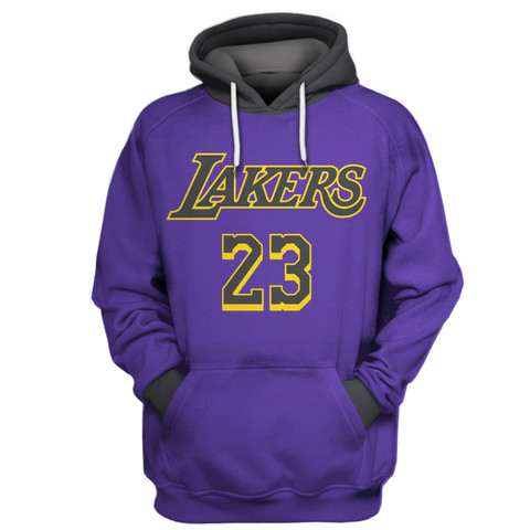 Lakers 23 Lebron James Purple All Stitched Hooded Sweatshirt