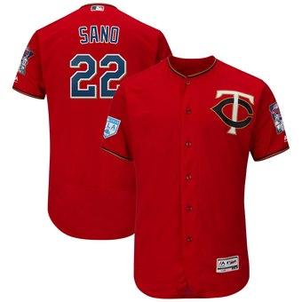 Men's Minnesota Twins 22 Miguel Sano Majestic Scarlet 2019 Spring Training Flex Base Player Jersey