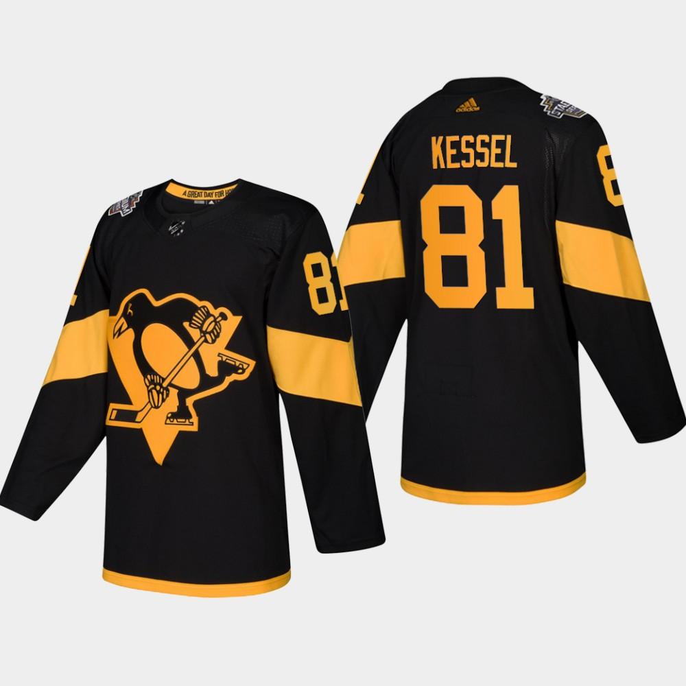 Men's Penguins #81 Phil Kessel Coors Light 2019 Stadium Series Black Authentic Jersey