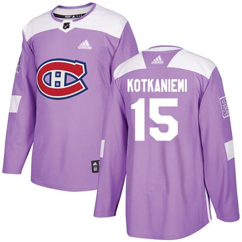 Adidas Canadiens #15 Jesperi Kotkaniemi Purple Authentic Fights Cancer Stitched NHL Jersey