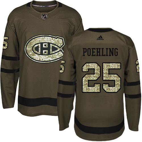 Adidas Canadiens #25 Ryan Poehling Green Salute to Service Stitched NHL Jersey