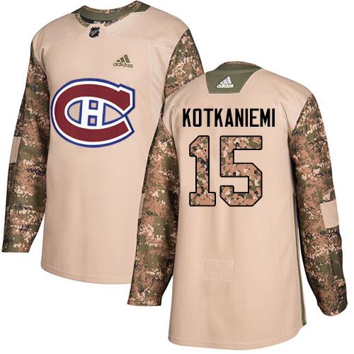 Adidas Canadiens #15 Jesperi Kotkaniemi Camo Authentic 2017 Veterans Day Stitched NHL Jersey