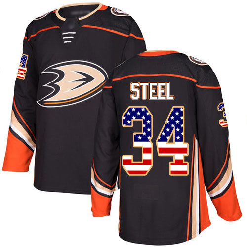 Adidas Ducks #34 Sam Steel Black Home Authentic USA Flag Stitched NHL Jersey