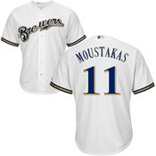 Milwaukee Brewers #11 Mike Moustakas White Cool base Jersey