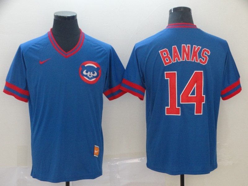 Cubs 14 Ernie Banks Blue Throwback Jersey