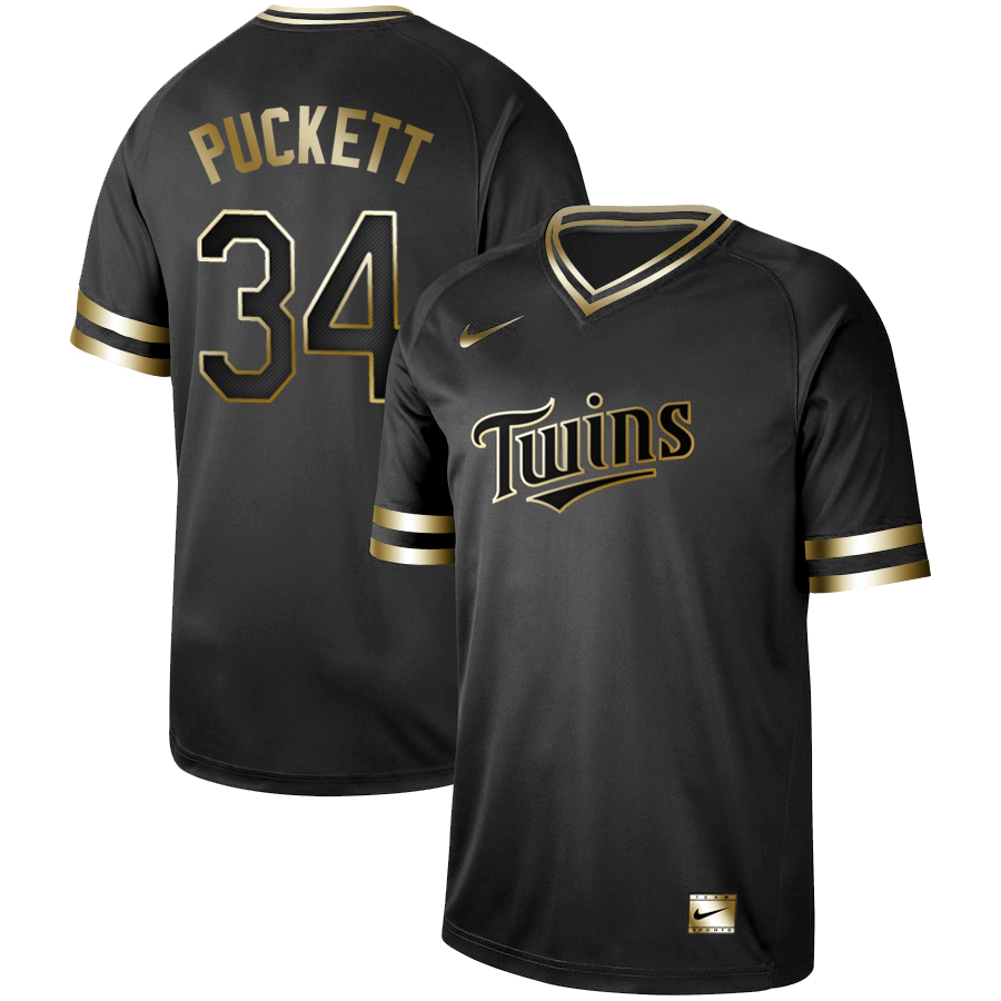 Twins #34 Kirby Puckett Black Gold Nike Cooperstown Collection Legend V Neck Jersey