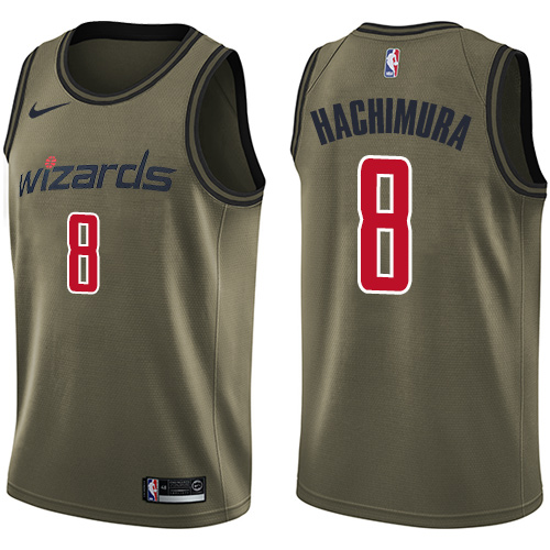 Wizards #8 Rui Hachimura Green Salute to Service Basketball