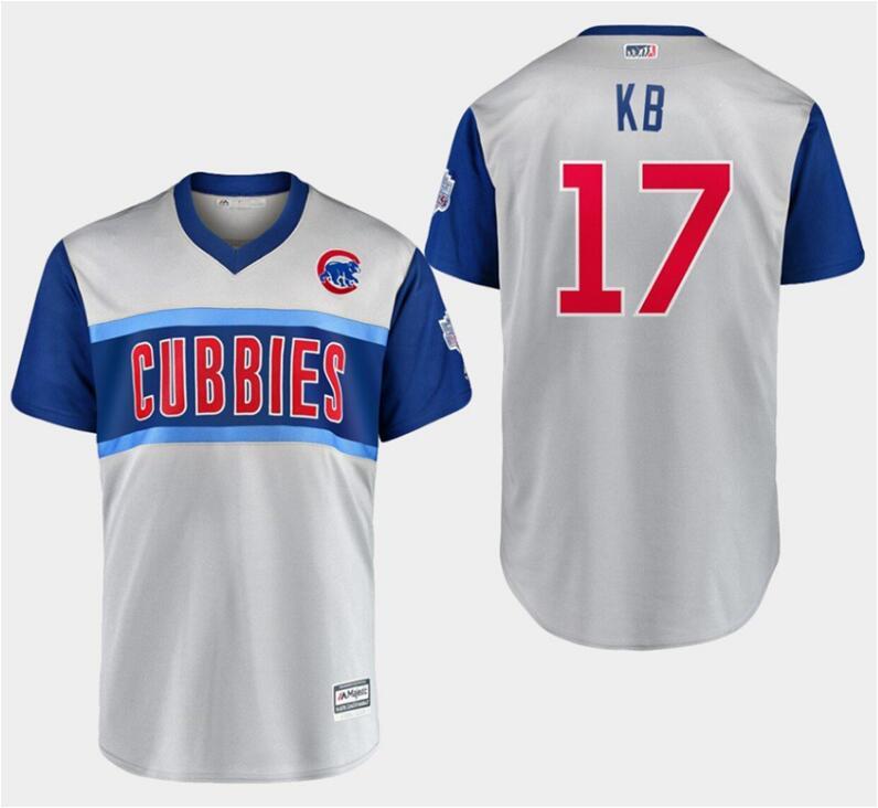 Men's Chicago Cubs 17 Kris Bryant Kb Gray 2019 MLB Little League Classic Player Jersey