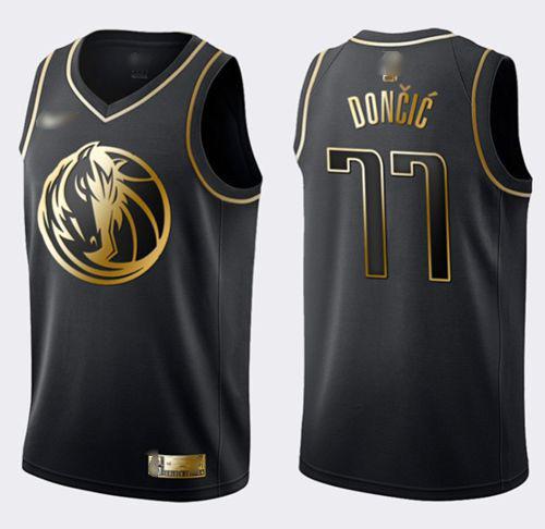 Nike Mavericks #77 Luka Doncic Black Gold NBA Swingman Limited Edition Jersey