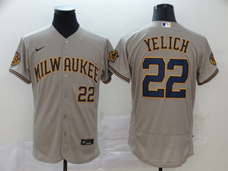Brewers #22 Christian Yelich Gray Nike 2020 Flexbase Jersey