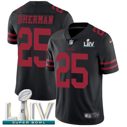 Nike 49ers #25 Richard Sherman Black Super Bowl LIV 2020 Alternate Youth Stitched NFL Vapor Untouchable Limited Jersey