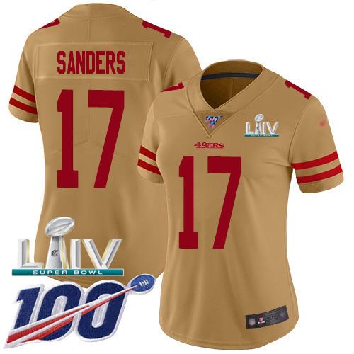 Nike 49ers #17 Emmanuel Sanders Gold Super Bowl LIV 2020 Women's Stitched NFL Limited Inverted Legend 100th Season Jersey