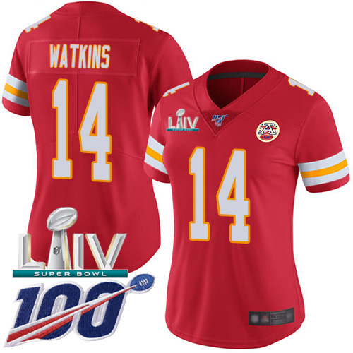 Nike Chiefs #14 Sammy Watkins Red Super Bowl LIV 2020 Team Color Women's Stitched NFL 100th Season Vapor Untouchable Limited Jersey