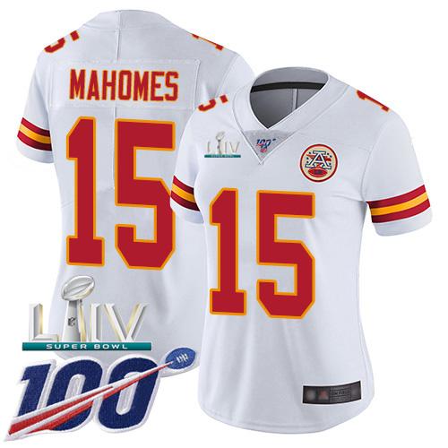 Nike Chiefs #15 Patrick Mahomes White Super Bowl LIV 2020 Women's Stitched NFL 100th Season Vapor Untouchable Limited Jersey