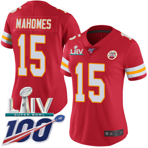 Nike Chiefs #15 Patrick Mahomes Red Super Bowl LIV 2020 Team Color Women's Stitched NFL 100th Season Vapor Untouchable Limited Jersey